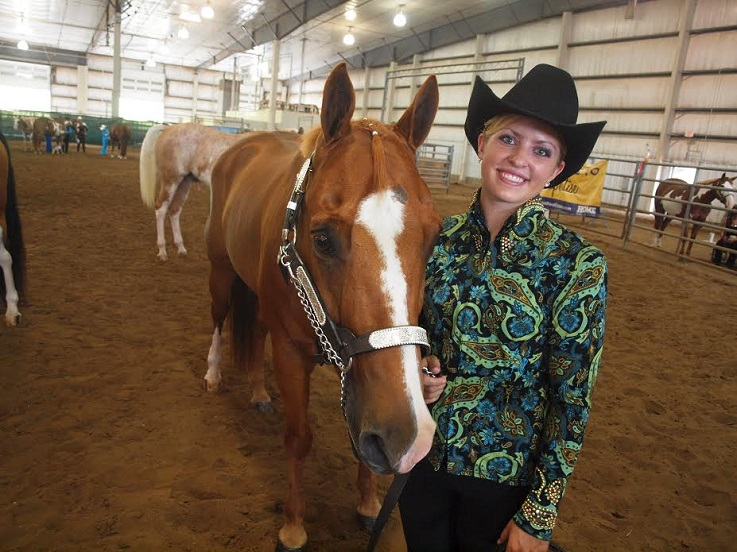 equestrian student with horse wally