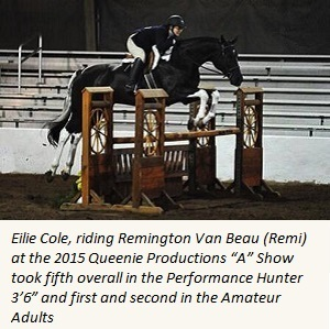 Equestrian studies student competes in dressage competition.
